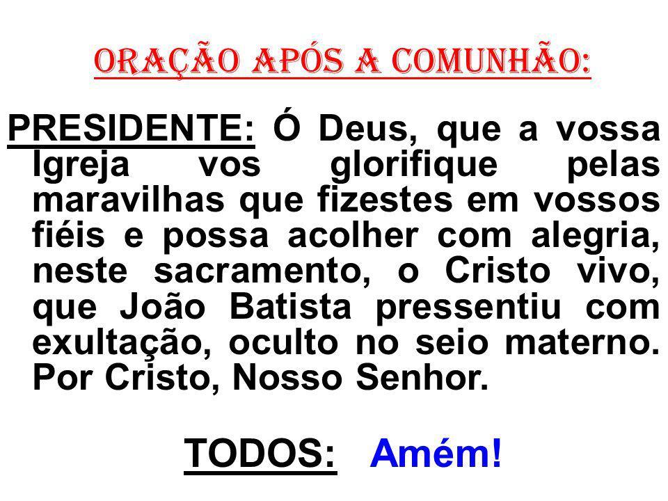 ORAÇÃO APÓS A COMUNHÃO: PRESIDENTE: Ó Deus, que a vossa Igreja vos glorifique pelas maravilhas que fizestes em vossos fiéis e possa acolher com alegri