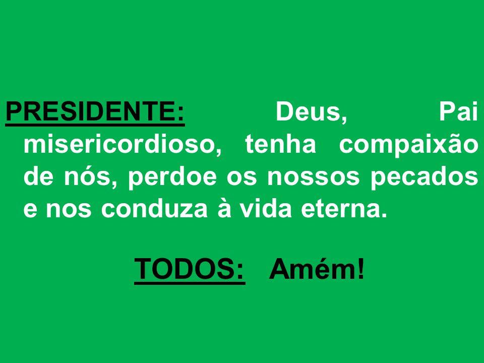 PRESIDENTE: Deus, Pai misericordioso, tenha compaixão de nós, perdoe os nossos pecados e nos conduza à vida eterna.