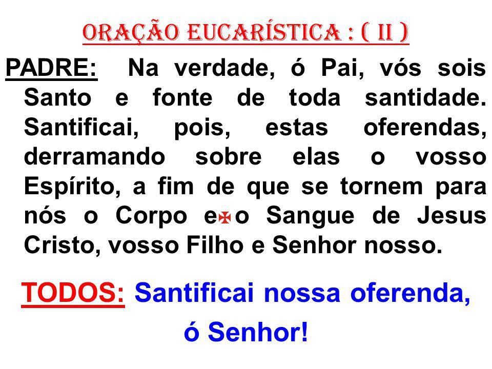 ORAÇÃO EUCARÍSTICA : ( II ) PADRE: Na verdade, ó Pai, vós sois Santo e fonte de toda santidade.