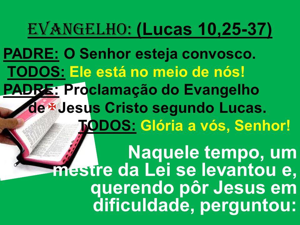 EVANGELHO: (Lucas 10,25-37) PADRE: O Senhor esteja convosco.