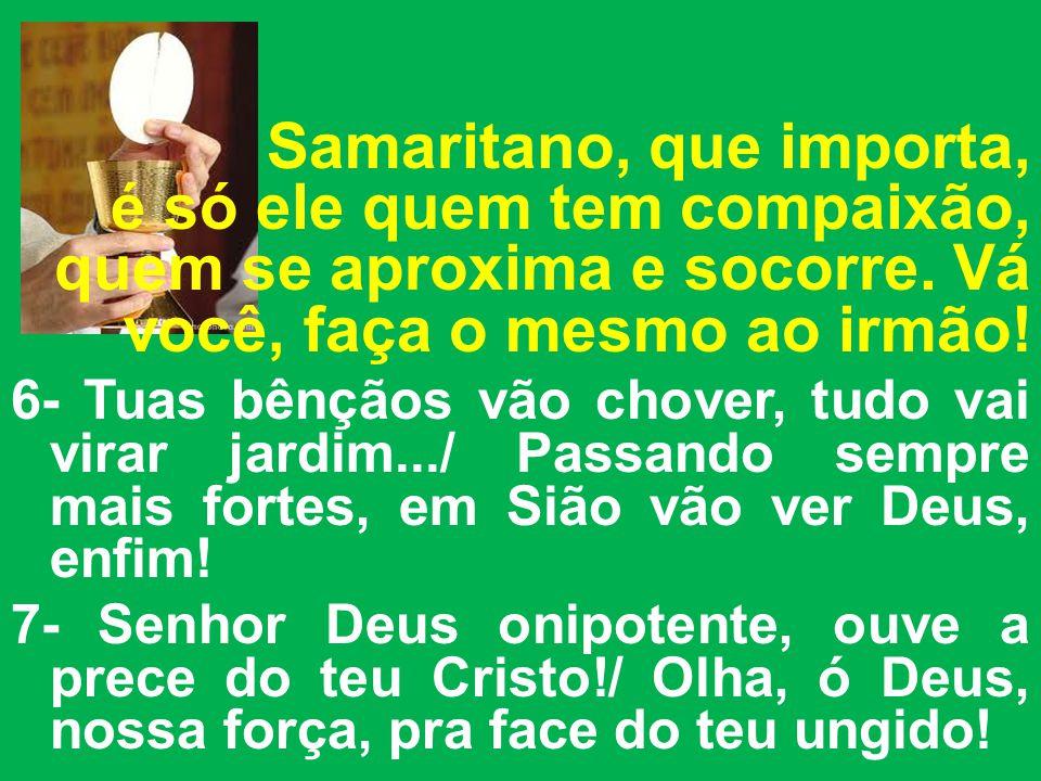 Samaritano, que importa, é só ele quem tem compaixão, quem se aproxima e socorre.