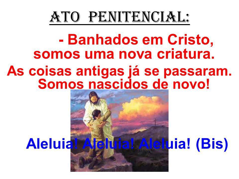 ATO PENITENCIAL: - Banhados em Cristo, somos uma nova criatura. As coisas antigas já se passaram. Somos nascidos de novo! Aleluia! Aleluia! Aleluia! (