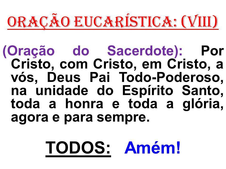 ORAÇÃO EUCARÍSTICA: (VIII) (Oração do Sacerdote): Por Cristo, com Cristo, em Cristo, a vós, Deus Pai Todo-Poderoso, na unidade do Espírito Santo, toda