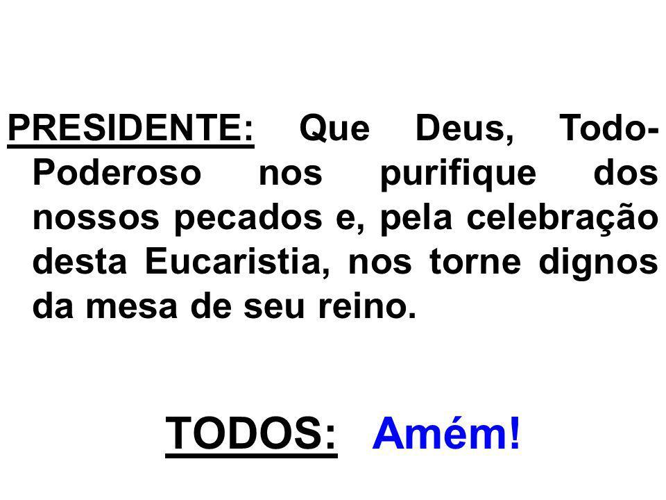PRESIDENTE: Que Deus, Todo- Poderoso nos purifique dos nossos pecados e, pela celebração desta Eucaristia, nos torne dignos da mesa de seu reino. TODO