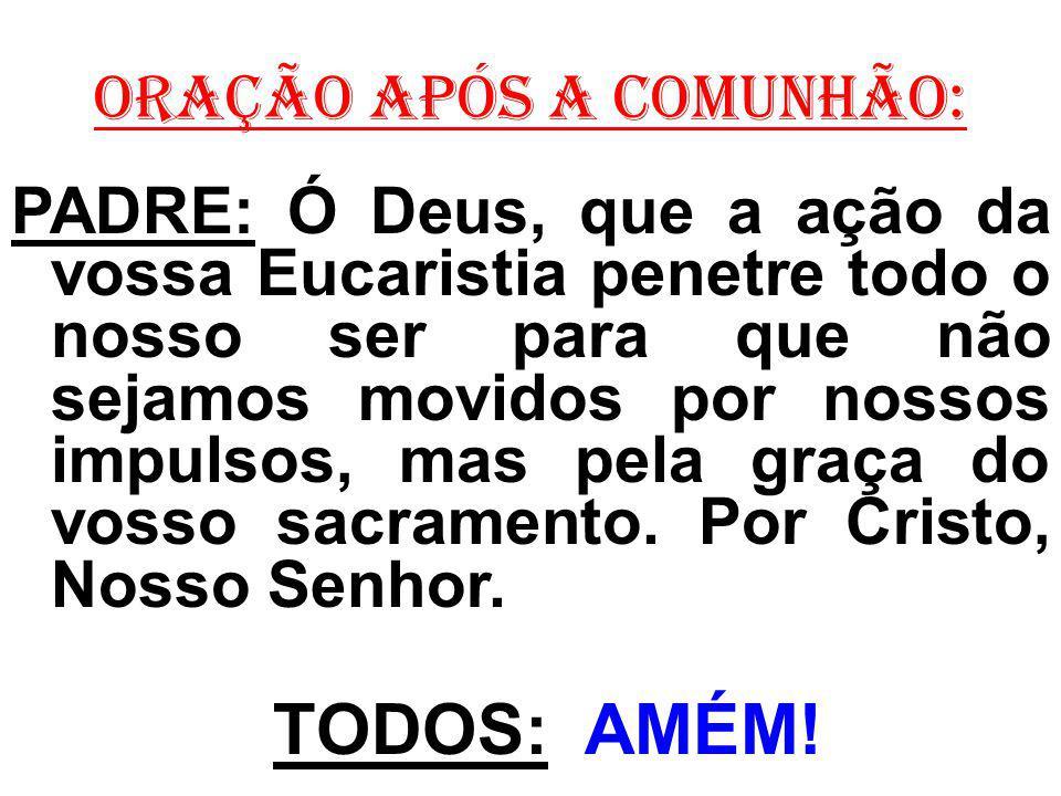 ORAÇÃO APÓS A COMUNHÃO: PADRE: Ó Deus, que a ação da vossa Eucaristia penetre todo o nosso ser para que não sejamos movidos por nossos impulsos, mas p