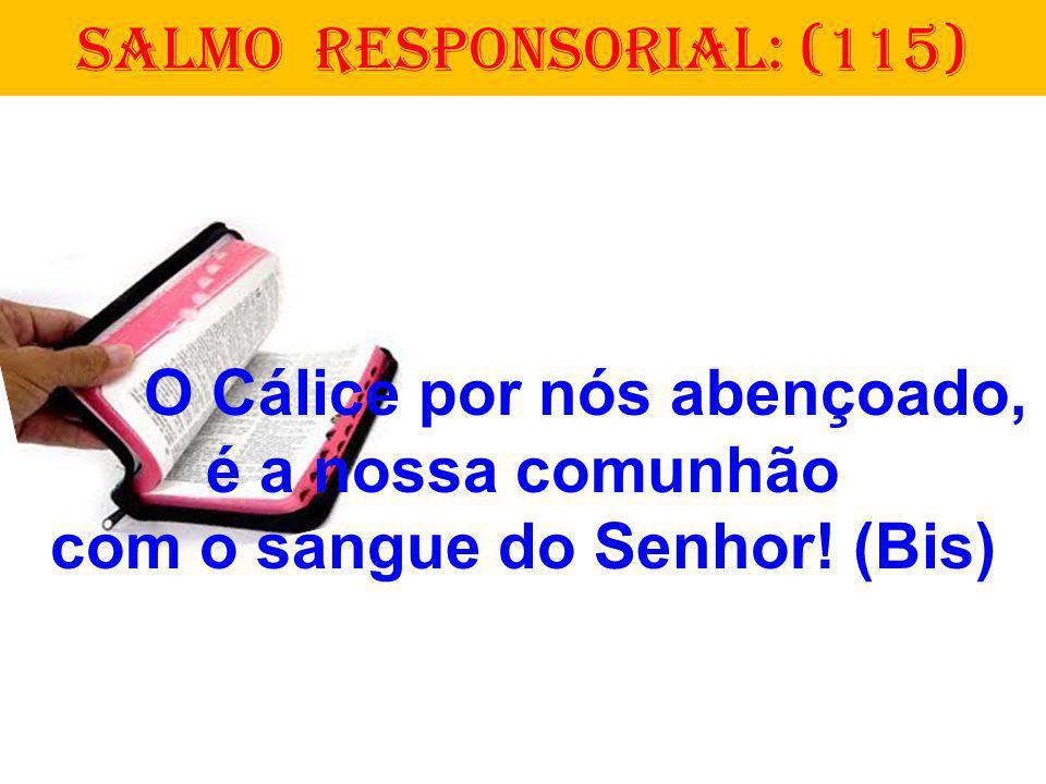 O Cálice por nós abençoado, é a nossa comunhão com o sangue do Senhor! (Bis) SALMO RESPONSORIAL: (115)