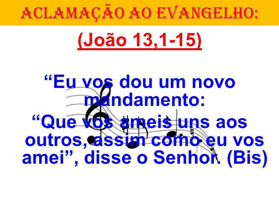 (João 13,1-15) Eu vos dou um novo mandamento: Que vos ameis uns aos outros, assim como eu vos amei, disse o Senhor. (Bis) ACLAMAÇÃO AO EVANGELHO: