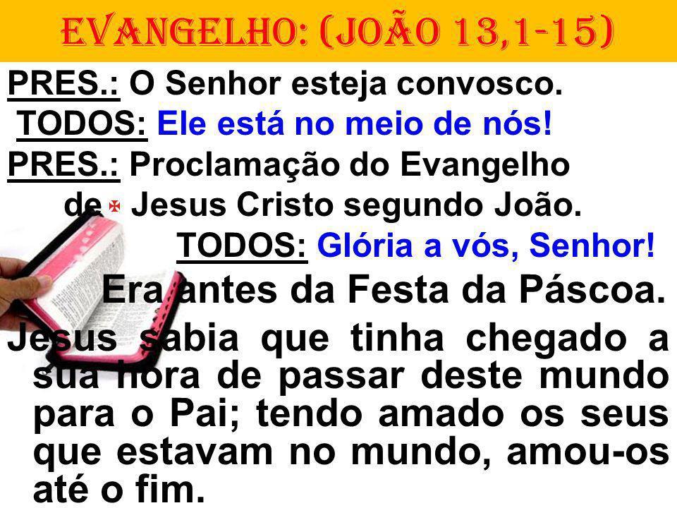 PRES.: O Senhor esteja convosco. TODOS: Ele está no meio de nós! PRES.: Proclamação do Evangelho de Jesus Cristo segundo João. TODOS: Glória a vós, Se