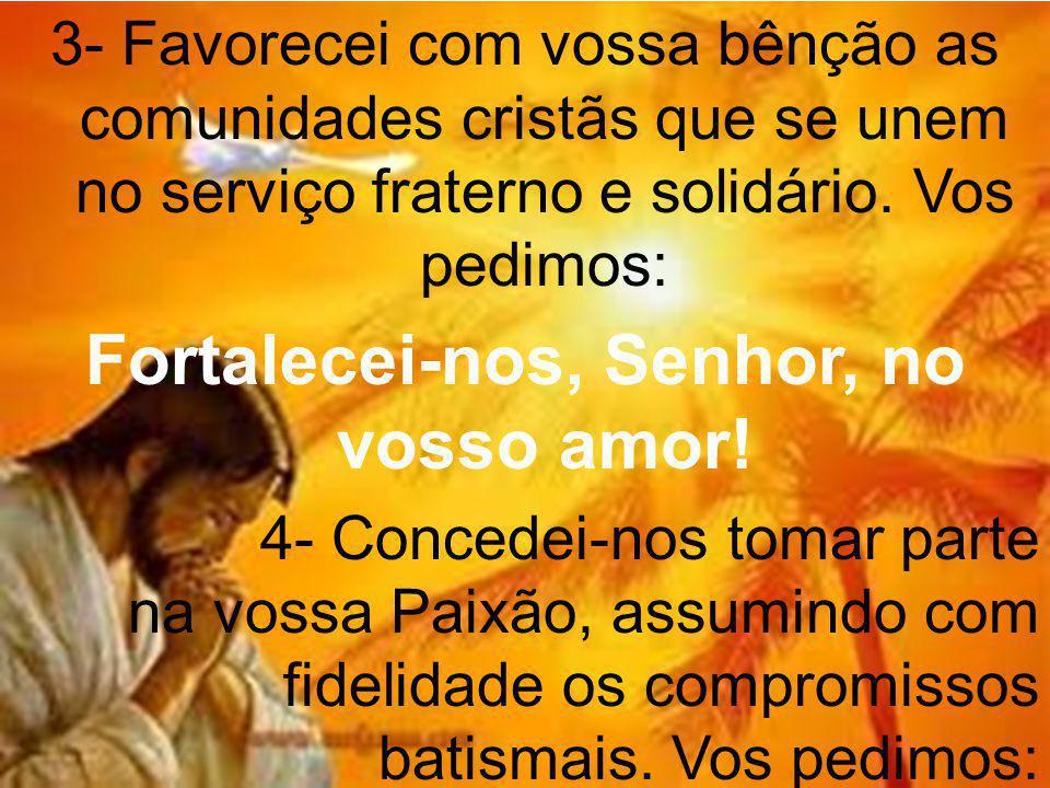 3- Favorecei com vossa bênção as comunidades cristãs que se unem no serviço fraterno e solidário.