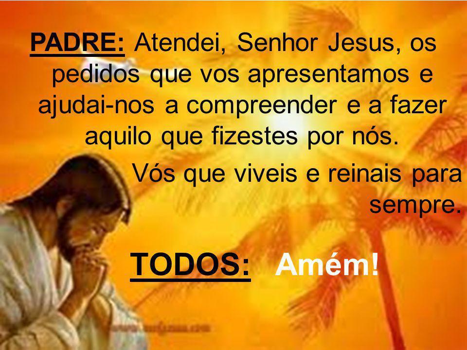 PADRE: Atendei, Senhor Jesus, os pedidos que vos apresentamos e ajudai-nos a compreender e a fazer aquilo que fizestes por nós. Vós que viveis e reina