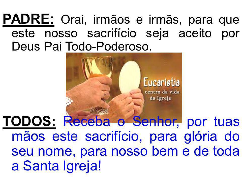 PADRE: Orai, irmãos e irmãs, para que este nosso sacrifício seja aceito por Deus Pai Todo-Poderoso. TODOS: Receba o Senhor, por tuas mãos este sacrifí