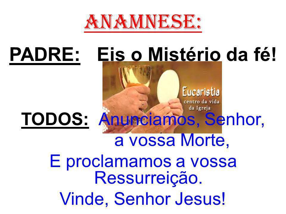 ANAMNESE: PADRE: Eis o Mistério da fé! TODOS: Anunciamos, Senhor, a vossa Morte, E proclamamos a vossa Ressurreição. Vinde, Senhor Jesus!