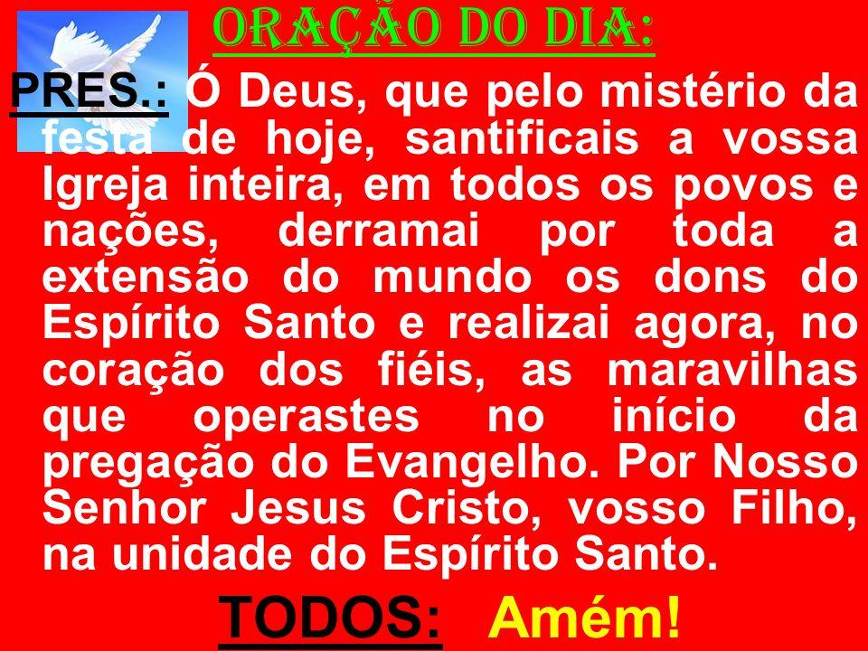 ORAÇÃO DO DIA: PRES.: Ó Deus, que pelo mistério da festa de hoje, santificais a vossa Igreja inteira, em todos os povos e nações, derramai por toda a