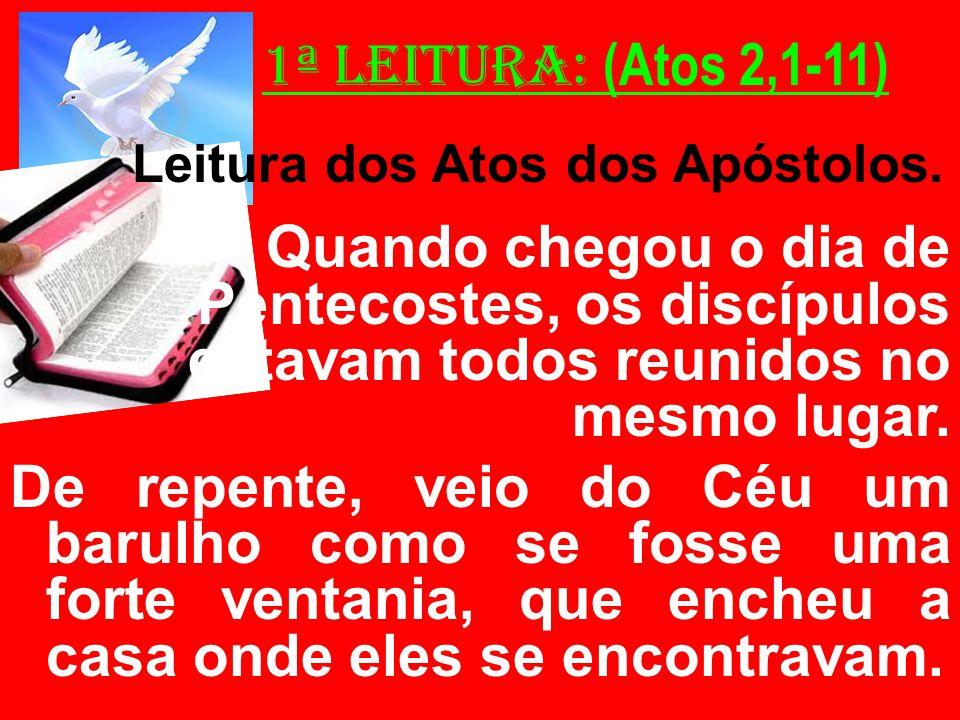 1ª Leitura: (Atos 2,1-11) Leitura dos Atos dos Apóstolos. Quando chegou o dia de Pentecostes, os discípulos estavam todos reunidos no mesmo lugar. De
