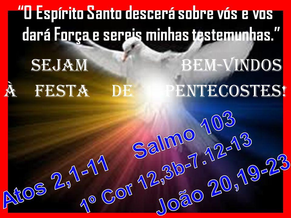 O Espírito Santo descerá sobre vós e vos dará Força e sereis minhas testemunhas. SEJAM BEM-VINDOS À FESTA DE PENTECOSTES!