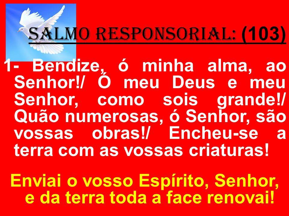 salmo responsorial: (103) 1- Bendize, ó minha alma, ao Senhor!/ Ó meu Deus e meu Senhor, como sois grande!/ Quão numerosas, ó Senhor, são vossas obras
