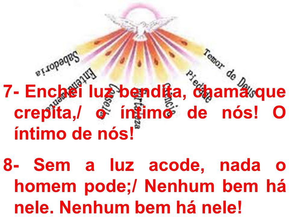 7- Enchei luz bendita, chama que crepita,/ o íntimo de nós! O íntimo de nós! 8- Sem a luz acode, nada o homem pode;/ Nenhum bem há nele. Nenhum bem há