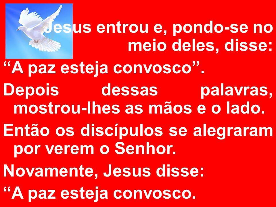 Jesus entrou e, pondo-se no meio deles, disse: A paz esteja convosco. Depois dessas palavras, mostrou-lhes as mãos e o lado. Então os discípulos se al