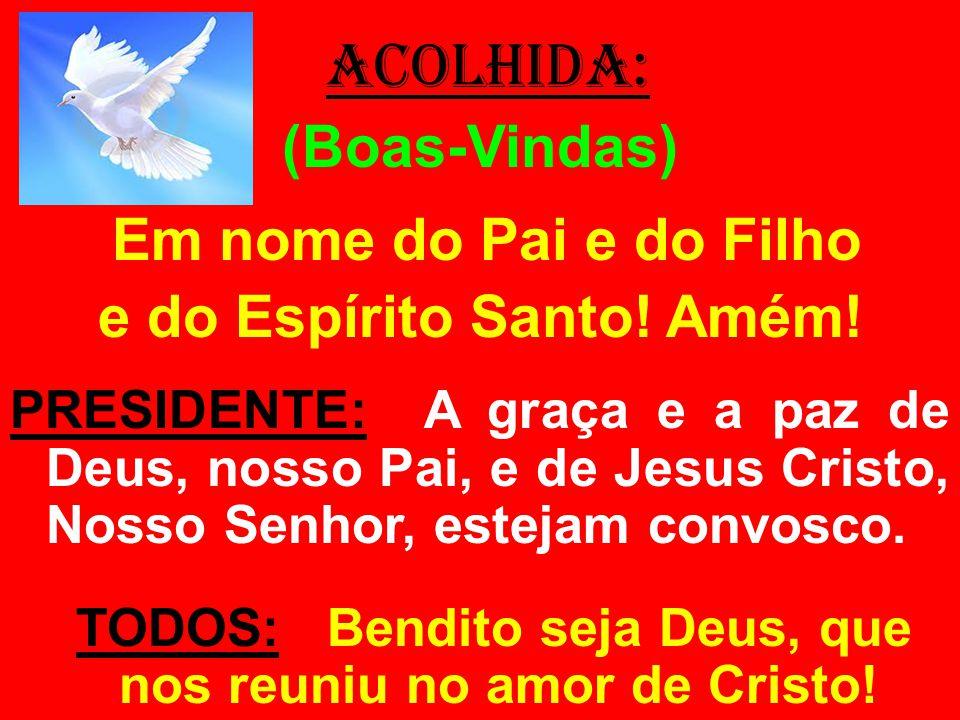 ACOLHIDA: (Boas-Vindas) Em nome do Pai e do Filho e do Espírito Santo! Amém! PRESIDENTE: A graça e a paz de Deus, nosso Pai, e de Jesus Cristo, Nosso