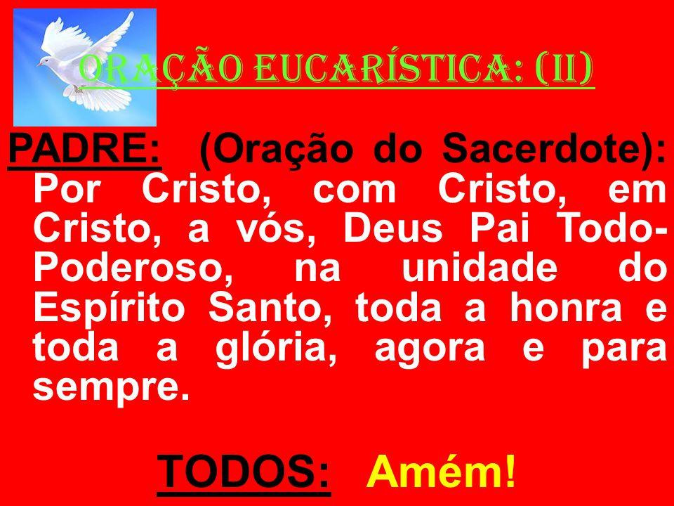 ORAÇÃO EUCARÍSTICA: (II) PADRE: (Oração do Sacerdote): Por Cristo, com Cristo, em Cristo, a vós, Deus Pai Todo- Poderoso, na unidade do Espírito Santo