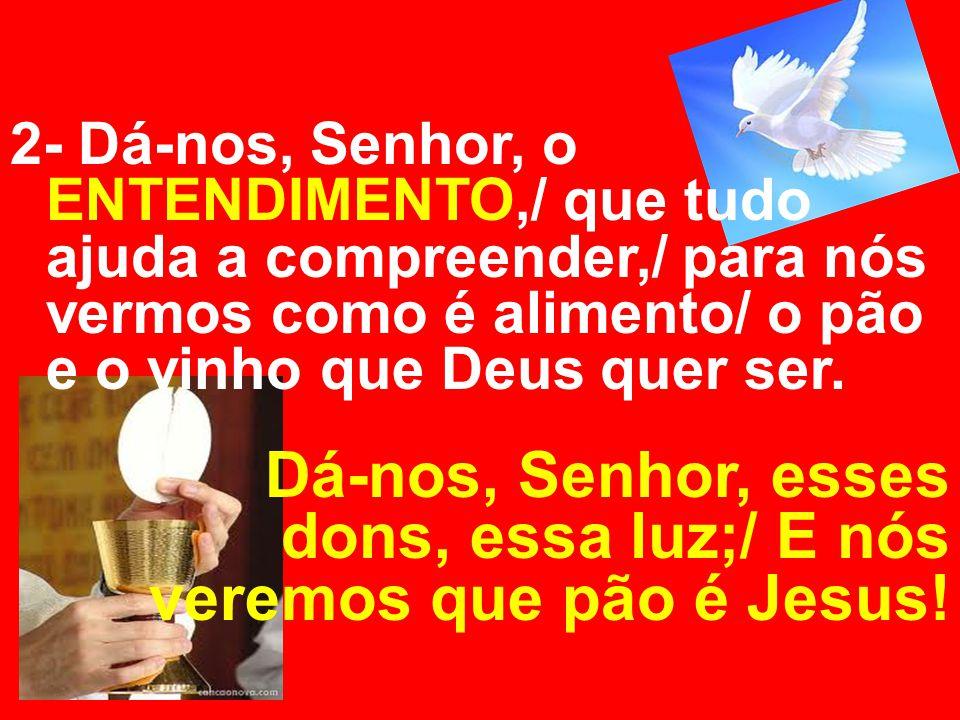 2- Dá-nos, Senhor, o ENTENDIMENTO,/ que tudo ajuda a compreender,/ para nós vermos como é alimento/ o pão e o vinho que Deus quer ser. Dá-nos, Senhor,