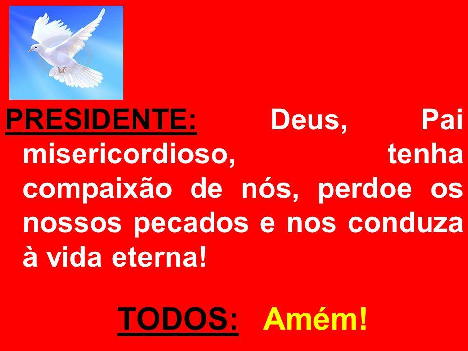 PRESIDENTE: Deus, Pai misericordioso, tenha compaixão de nós, perdoe os nossos pecados e nos conduza à vida eterna! TODOS: Amém!