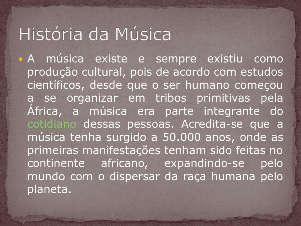 A música existe e sempre existiu como produção cultural, pois de acordo com estudos científicos, desde que o ser humano começou a se organizar em trib