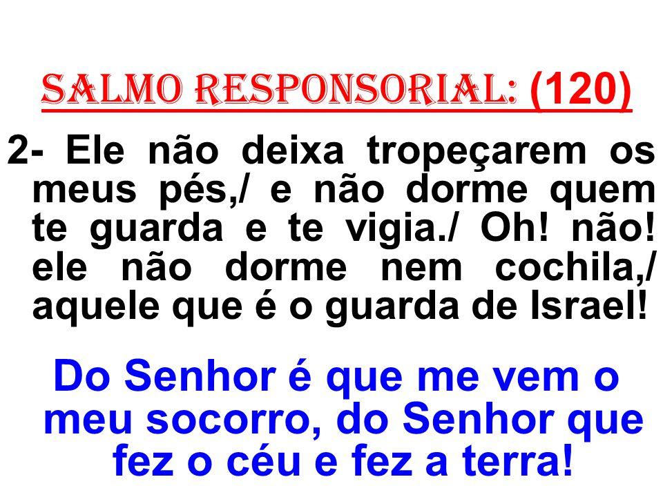 salmo responsorial: (120) 2- Ele não deixa tropeçarem os meus pés,/ e não dorme quem te guarda e te vigia./ Oh! não! ele não dorme nem cochila,/ aquel
