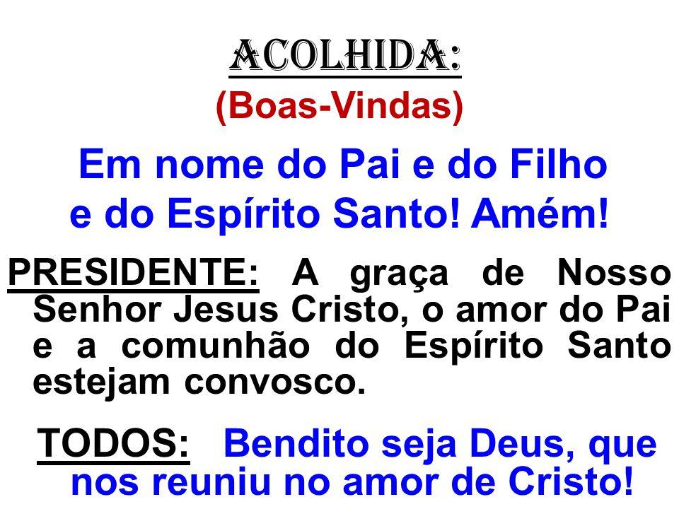 ACOLHIDA: (Boas-Vindas) Em nome do Pai e do Filho e do Espírito Santo! Amém! PRESIDENTE: A graça de Nosso Senhor Jesus Cristo, o amor do Pai e a comun