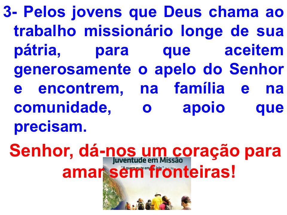 3- Pelos jovens que Deus chama ao trabalho missionário longe de sua pátria, para que aceitem generosamente o apelo do Senhor e encontrem, na família e
