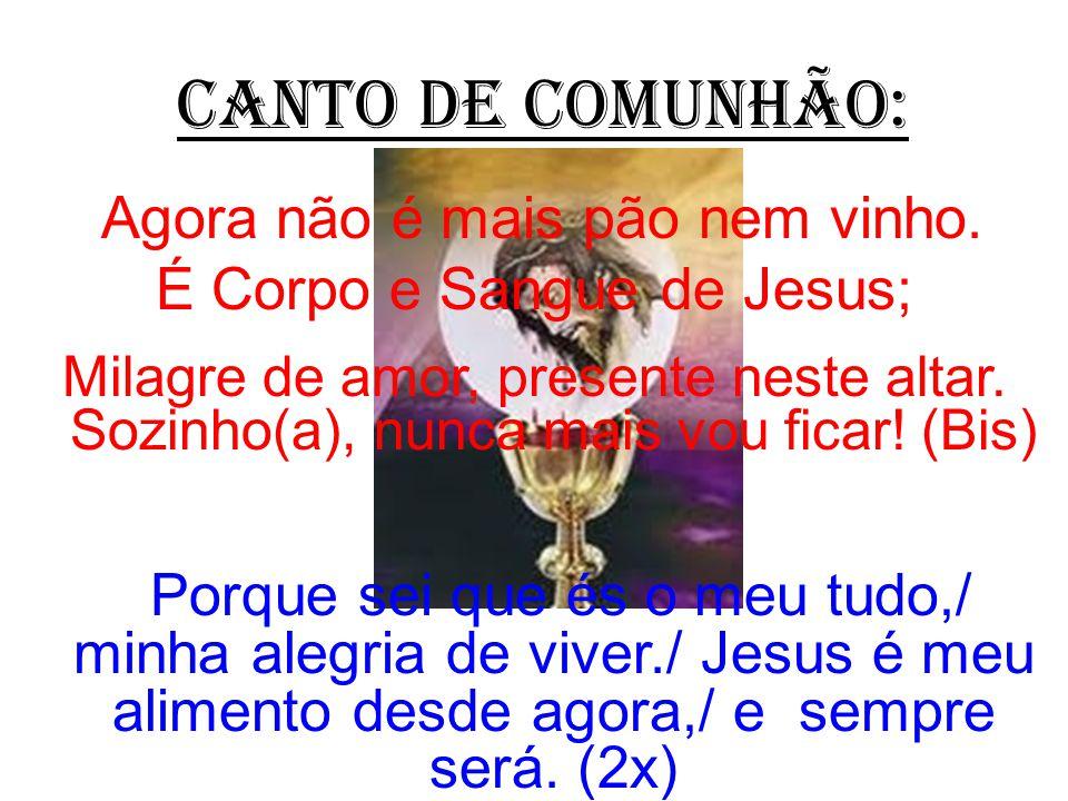CANTO DE COMUNHÃO: Agora não é mais pão nem vinho. É Corpo e Sangue de Jesus; Milagre de amor, presente neste altar. Sozinho(a), nunca mais vou ficar!