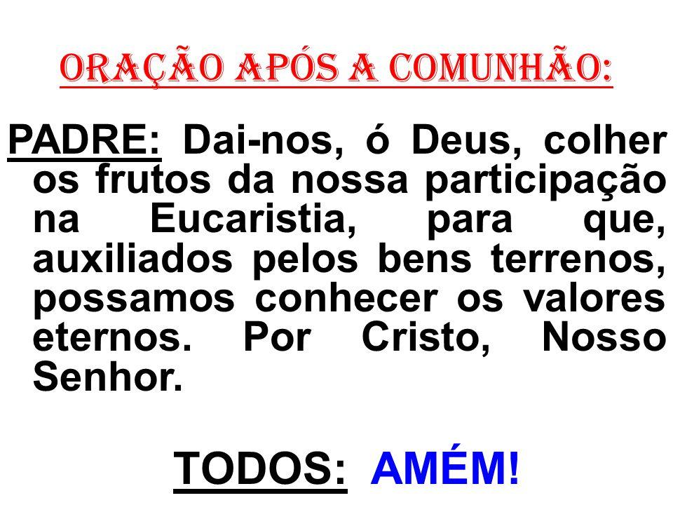 ORAÇÃO APÓS A COMUNHÃO: PADRE: Dai-nos, ó Deus, colher os frutos da nossa participação na Eucaristia, para que, auxiliados pelos bens terrenos, possam