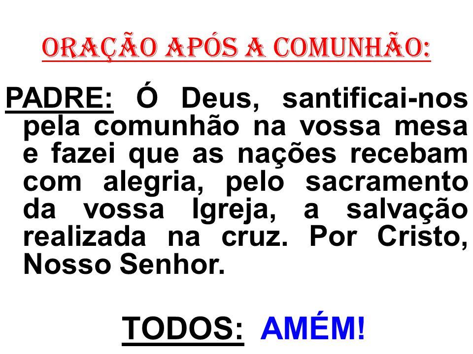 ORAÇÃO APÓS A COMUNHÃO: PADRE: Ó Deus, santificai-nos pela comunhão na vossa mesa e fazei que as nações recebam com alegria, pelo sacramento da vossa