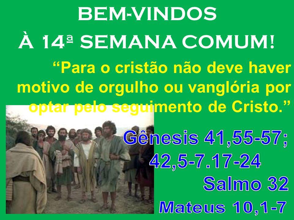 BEM-VINDOS À 14ª SEMANA COMUM! Para o cristão não deve haver motivo de orgulho ou vanglória por optar pelo seguimento de Cristo.