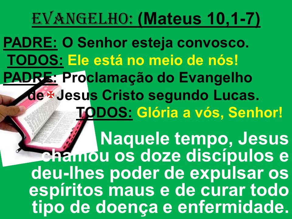 EVANGELHO: (Mateus 10,1-7) PADRE: O Senhor esteja convosco. TODOS: Ele está no meio de nós! PADRE: Proclamação do Evangelho de Jesus Cristo segundo Lu