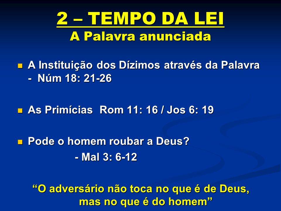 2 – TEMPO DA LEI A Palavra anunciada A Instituição dos Dízimos através da Palavra - Núm 18: 21-26 A Instituição dos Dízimos através da Palavra - Núm 1