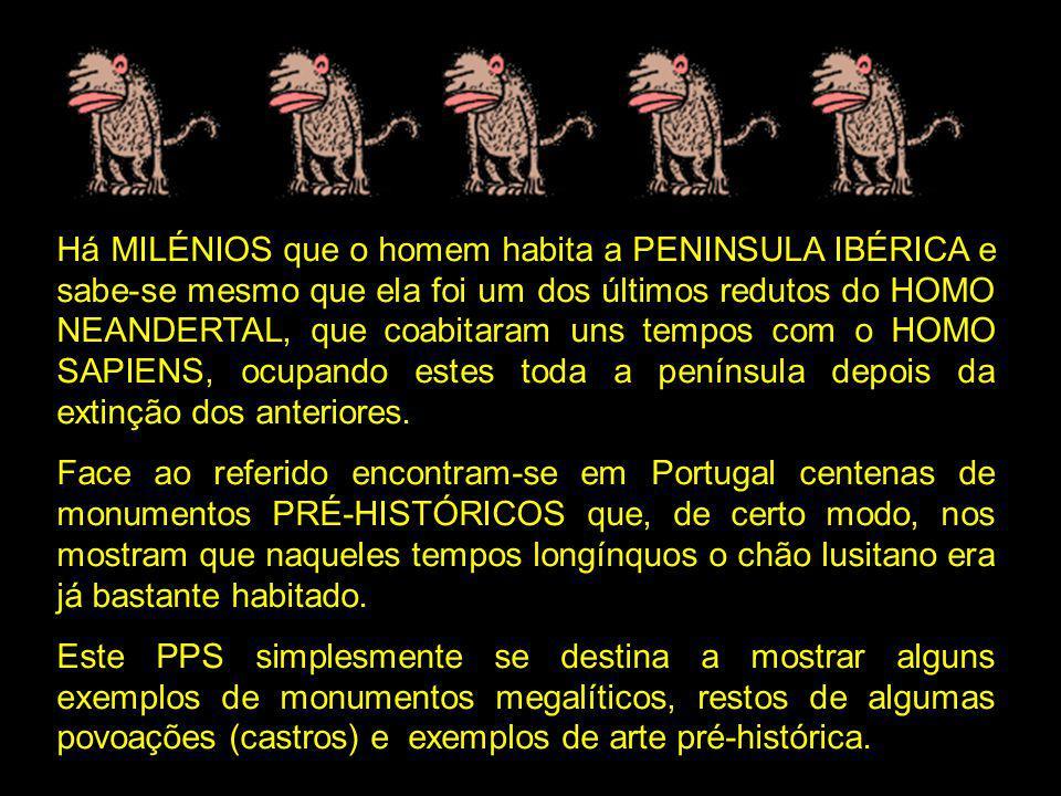 Há MILÉNIOS que o homem habita a PENINSULA IBÉRICA e sabe-se mesmo que ela foi um dos últimos redutos do HOMO NEANDERTAL, que coabitaram uns tempos com o HOMO SAPIENS, ocupando estes toda a península depois da extinção dos anteriores.