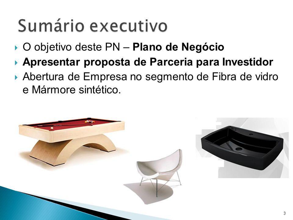 O objetivo deste PN – Plano de Negócio Apresentar proposta de Parceria para Investidor Abertura de Empresa no segmento de Fibra de vidro e Mármore sin
