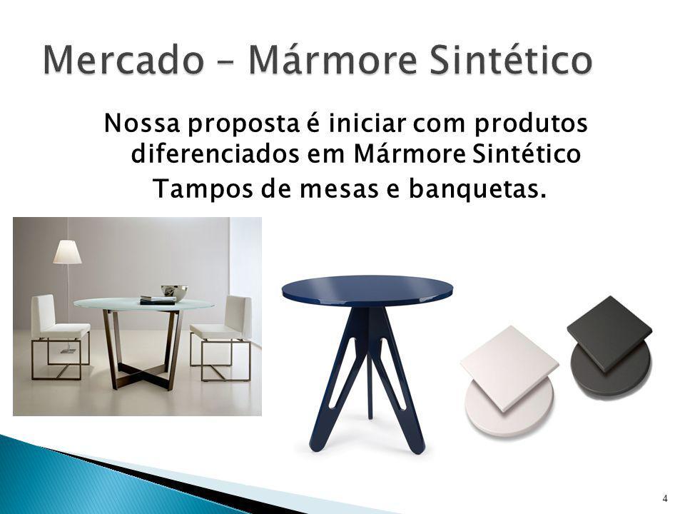 Nossa proposta é iniciar com produtos diferenciados em Mármore Sintético Tampos de mesas e banquetas. 4