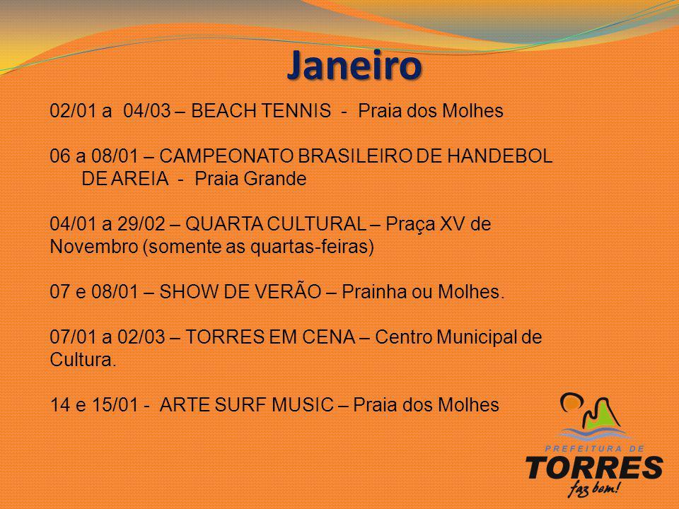 Janeiro Janeiro 02/01 a 04/03 – BEACH TENNIS - Praia dos Molhes 06 a 08/01 – CAMPEONATO BRASILEIRO DE HANDEBOL DE AREIA - Praia Grande 04/01 a 29/02 –