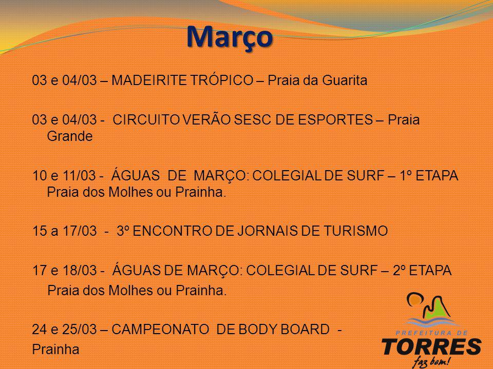 03 e 04/03 – MADEIRITE TRÓPICO – Praia da Guarita 03 e 04/03 - CIRCUITO VERÃO SESC DE ESPORTES – Praia Grande 10 e 11/03 - ÁGUAS DE MARÇO: COLEGIAL DE