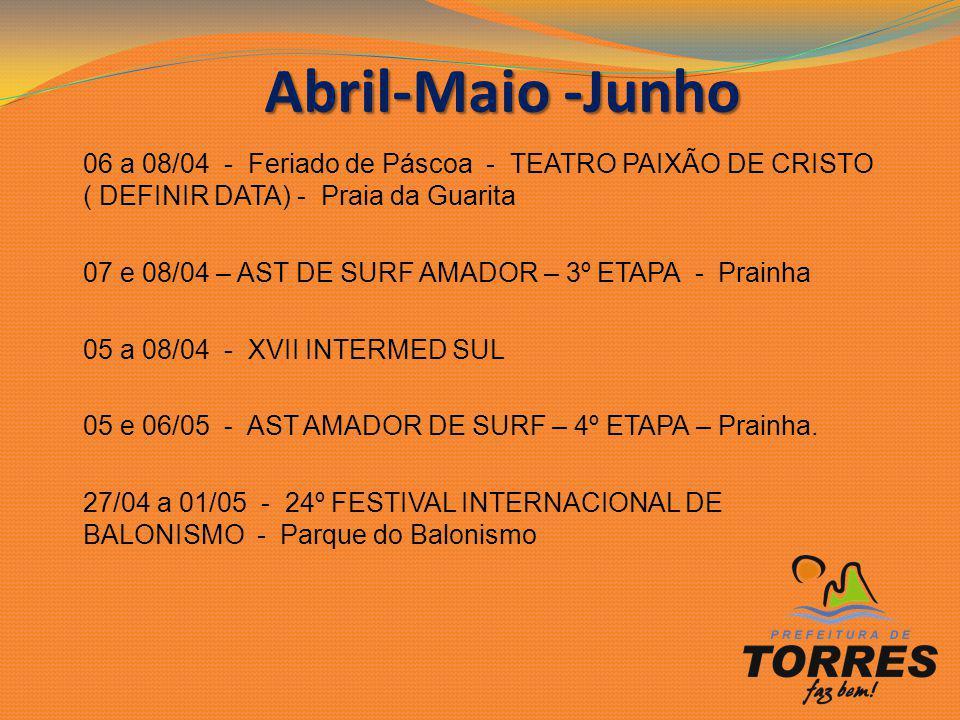 06 a 08/04 - Feriado de Páscoa - TEATRO PAIXÃO DE CRISTO ( DEFINIR DATA) - Praia da Guarita 07 e 08/04 – AST DE SURF AMADOR – 3º ETAPA - Prainha 05 a