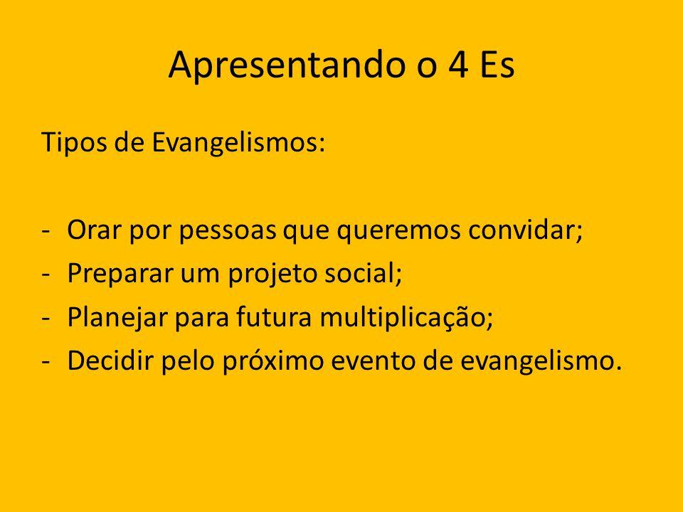 Apresentando o 4 Es Tipos de Evangelismos: -Orar por pessoas que queremos convidar; -Preparar um projeto social; -Planejar para futura multiplicação;
