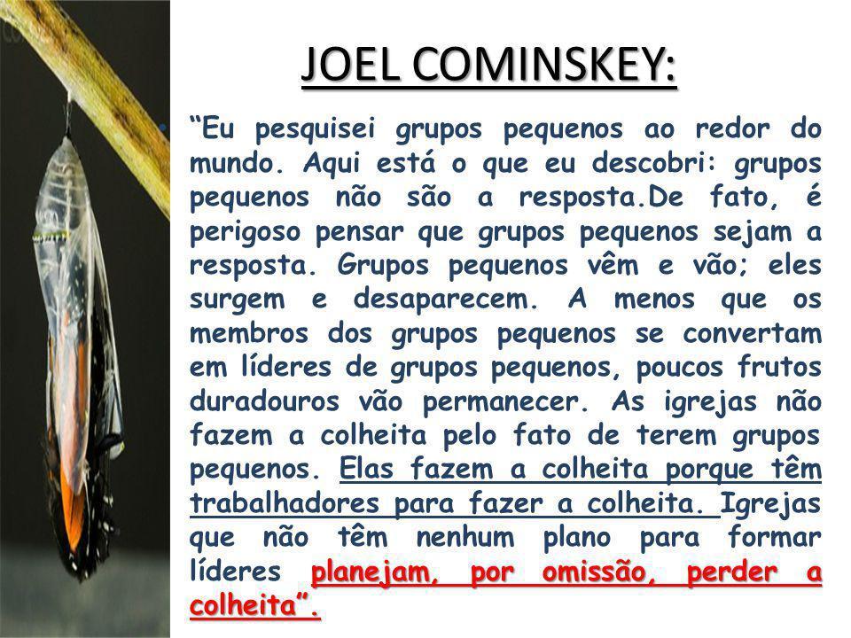 JOEL COMINSKEY: planejam, por omissão, perder a colheita. Eu pesquisei grupos pequenos ao redor do mundo. Aqui está o que eu descobri: grupos pequenos