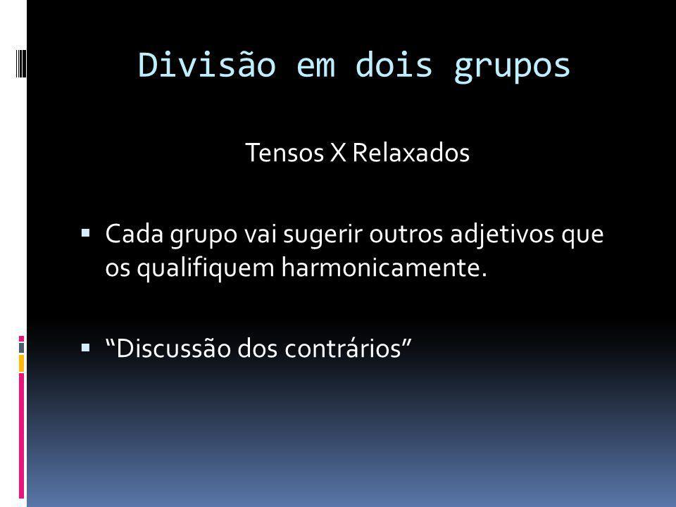 Divisão em dois grupos Tensos X Relaxados Cada grupo vai sugerir outros adjetivos que os qualifiquem harmonicamente. Discussão dos contrários