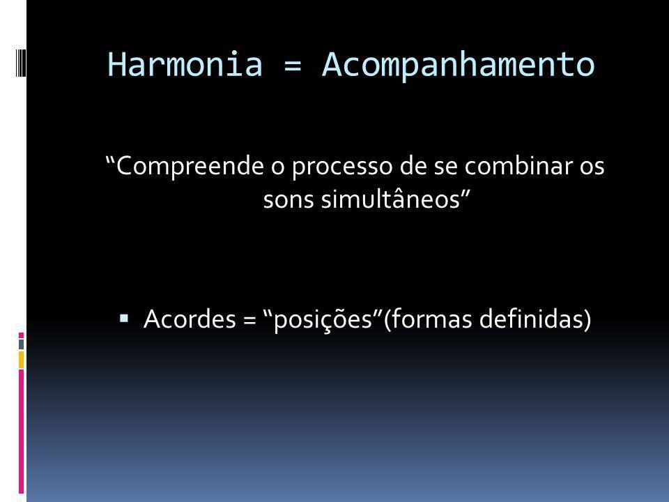 Harmonia = Acompanhamento Compreende o processo de se combinar os sons simultâneos Acordes = posições(formas definidas)