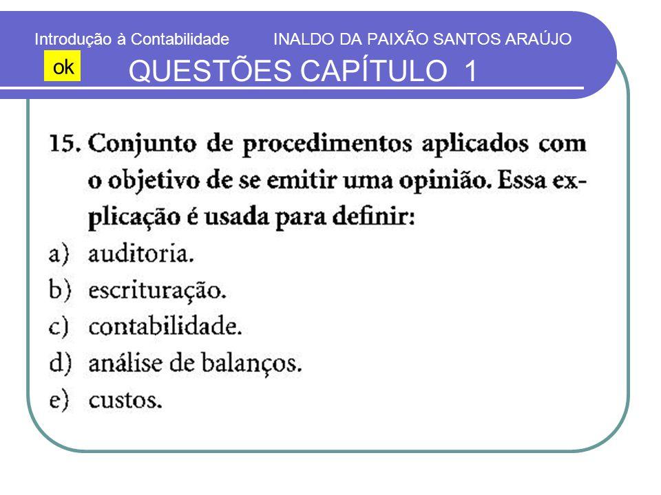 Introdução à Contabilidade INALDO DA PAIXÃO SANTOS ARAÚJO QUESTÕES CAPÍTULO 1 ok
