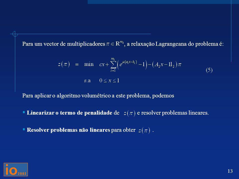 13 Para um vector de multiplicadores, a relaxação Lagrangeana do problema é: Para aplicar o algoritmo volumétrico a este problema, podemos Linearizar