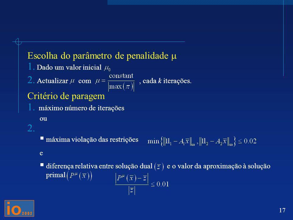 17 Escolha do parâmetro de penalidade 1. Dado um valor inicial 2. Actualizar com, cada k iterações. Critério de paragem 1. máximo número de iterações