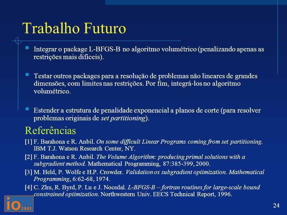 24 Trabalho Futuro Integrar o package L-BFGS-B no algoritmo volumétrico (penalizando apenas as restrições mais difíceis). Testar outros packages para